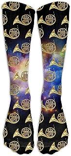 Calcetines Unisex,Cuernos Franceses Instrumento Musical Novedad Unisex Calf Premium Calcetines Deportivos Altos Medias De Tubo De Moda 50cm