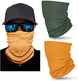 Pack of 2 Edary Comouflage Face Bandanas Seamless Microfiber Face Neck Shields Headwear Outdoor Neck Headwear Face Scarf for Women and Men