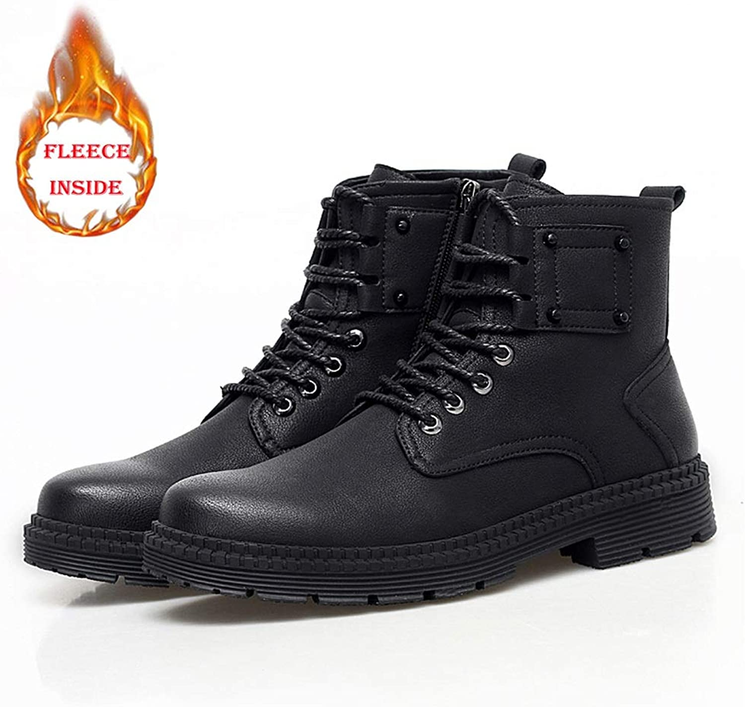 Xujw-shoes Men's Winter Faux Fleece Inside Warm Fashion Boots for Casual and Comfort British Style High Top Boot(Conventional Optional)
