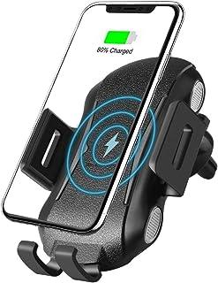 شاحن سيارة لاسلكي يثبت 10 وات QC3.0 مع خاصية الإغلاق التلقائي ومتوافق مع هاتف iPhone Xs/Xs Max/XR/X/ 8/8 بلس، سامسونج جالا...