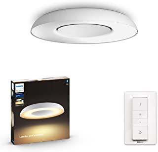 Philips Hue Still White Ambience Smart Ceiling Light LED with Bluetooth, White & Dimmer Switch, Works with Alexa, Google A...