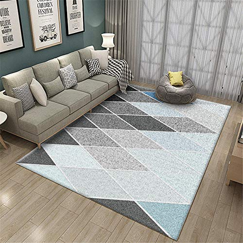 Kunsen Decoracion hogar Salon pie de Cama Alfombra de Sala Azul Gris geométrico Moderno Antideslizante Lavable a máquina Alfombra Gateo Bebe 50X80CM 1ft 7.7' X2ft 7.5'