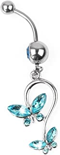 Ecloud Shopョ Cute Butterfly Blue Crystal Navel Ring Belly Piercing Jewelry