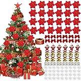 Yidaxing 115 PCS Fleurs d'arbre de Noël Paillettes Artificielles Fleurs Rouges de NoëL avec des Flocons de Neige Santa Claus Ruban Bowknot Bell Clip pour Les Décorations de Noël de Noce(Rouge)