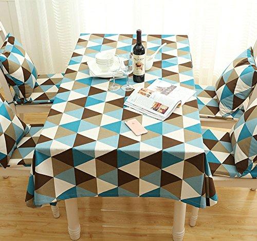 MDD Tech - Mantel para mesa cuadrada con diseño de triángulo, a prueba de polvo, azul, 90 x 90 cm