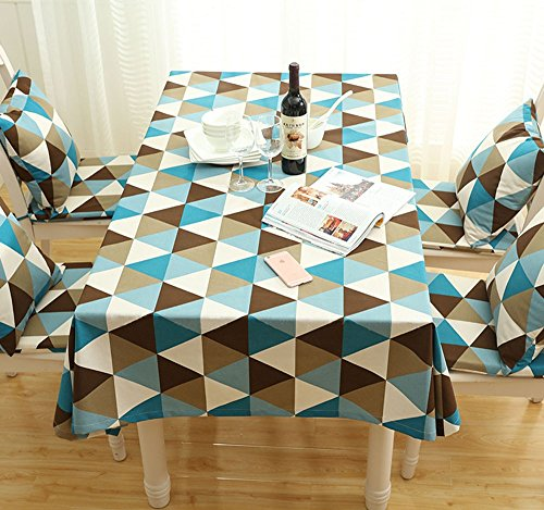 Mdd Tech moderno unico Triangle design antipolvere tovaglia per tavolo quadrato, Blue, 90X90 cm
