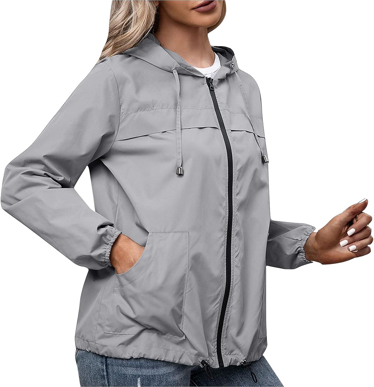 RFNIU Raincoat For Women Fashion Casual Black Lightweight Outddoor Waterproof Hooded Jacket Shirt Zip Up Cardigan Tops
