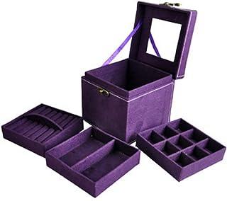 Jewelry Box for Women, Auma Three Layer Flannel Jewelry Box Organizer Display Storage Case - Necklace Jewelry Holder with ...