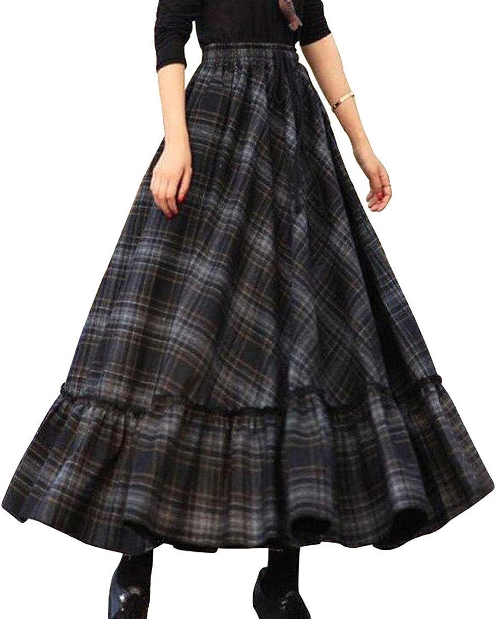CHARTOU Women's Elegant High Waist Plaid Patchwork Pleated Flowy Maxi Swing Skirt