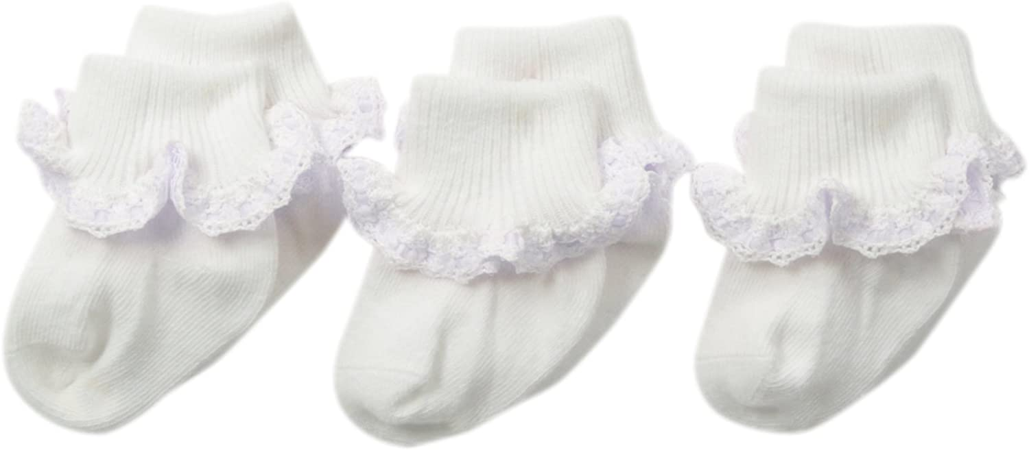 Jefferies Socks Baby Girls' Cluny and Satin Lace Socks 3 Pair Pack