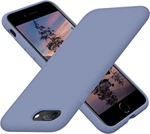 Cordking Phone Case iPhone 8 Plus, iPhone 7 Plus Case, Silicone Ultra Slim Shockproof Case with [Soft Anti-Scratch Microfiber Lining], 5.5 inch, Lavender Gray