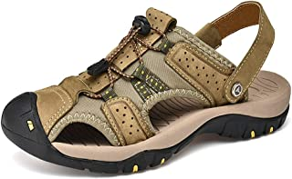 J.S.U Men Summer Sandals Real Genuine Leather Casual Shoes Man Roman Style Beach Sandals Brand Easy to Wear Lace Up Outdoor Leisure Shoes (Color : Khaki, Size : 9.5 UK)