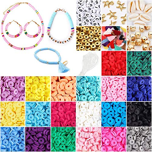 4350 Pcs Flat Round Polymer Clay Spacer Beads Kit, Heishi Clay Beads with Tassle,Faux Pearl,Pendant and Jump Rings for Jewelry Making Bracelets Necklace Earring DIY Craft(6mm 20 Colors Beads)