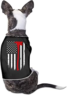 BLACKOD-PET Firefighter Flag Thin Red Line Axe Puppy Dog Shirts Dog Costume Pets Clothing Warm Vest T-Shirt