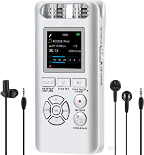 Digital Voice Recorder for Lectures - Aomago 8GB Voice Activated Recorder Portable Dictaphone Sound Audio Recording Device Support Line in, External Mic