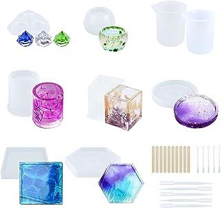 ZSTKEKE Moulle Silicone Resine Epoxy,Moule de Bricolage de Silicone Y compris les cubes, les cendriers, les cylindres, les...
