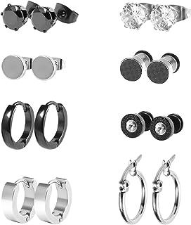 JewelryWe Bijoux Boucles d/'Oreilles Homme R/étro Plume Anneau /à Charni/ère Clous d/'Oreilles Acier Inoxydable Fantaisie pour Homme et Femme Avec Sac Cadeau