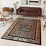 Tapiso® Alfombra Colección Atlas | Salón Piso Cuarto De Estar | Color Negro | Decorativo Diseño Leopardo Bordura | De Fácil Cuidado 180 x 250 cm