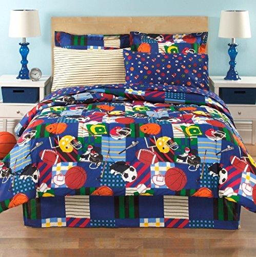 Sports Baseball Football Soccer Blue Boys Kids Twin Comforter 6 Piece Bed Bag Set
