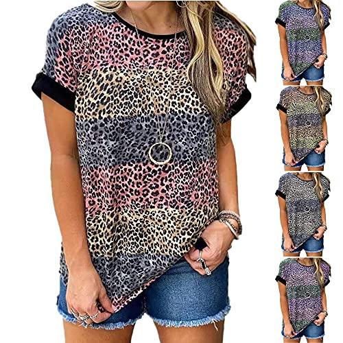 Camiseta Mujer Shirt Mujer Sexy Patrón De Leopardo Cuello Redondo Manga Corta Moda De Verano Casual Suelto Cómodo Chic Nuevas Mujeres Top Mujer Camisas F-Red XL