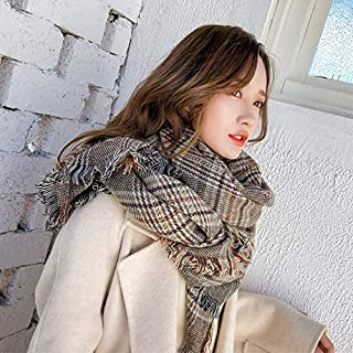 Winter Long Scarf Shawl Scarf Dual-use Super Long Thick Houndstooth Collar Female Autumn and Winter (Color : Grey) Winter Soft Scarf (Color : Khaki)