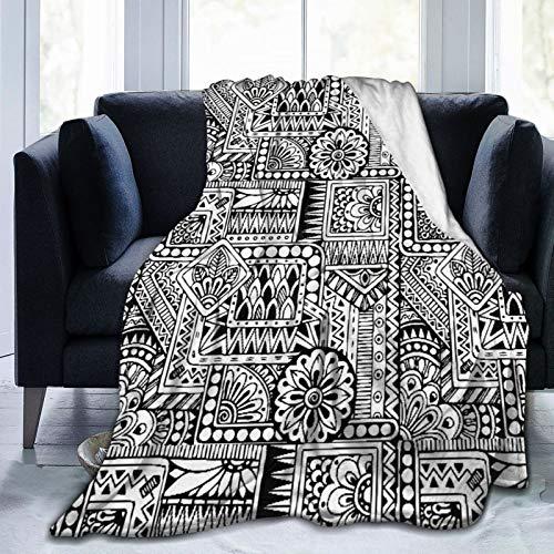 AMIGGOO Manta de Tiro Personalizada,Asiático étnico Floral Henna Paisley Mehndi Doodles Diseño Tribal Patrón Blanco y Negro,Manta de Felpa Suave para sofá,Dormitorio,Viaje,Manta mullida 50'X60'