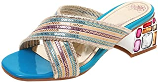 Zanpa Women Fashion Summer Shoes Sqaure Heels Slide Sandals