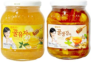 DAMTUH Korean Honey Tea, Citron Tea with Honey + Ginger Tea with Honey 27.16 Oz (770g) X 2 Bottles