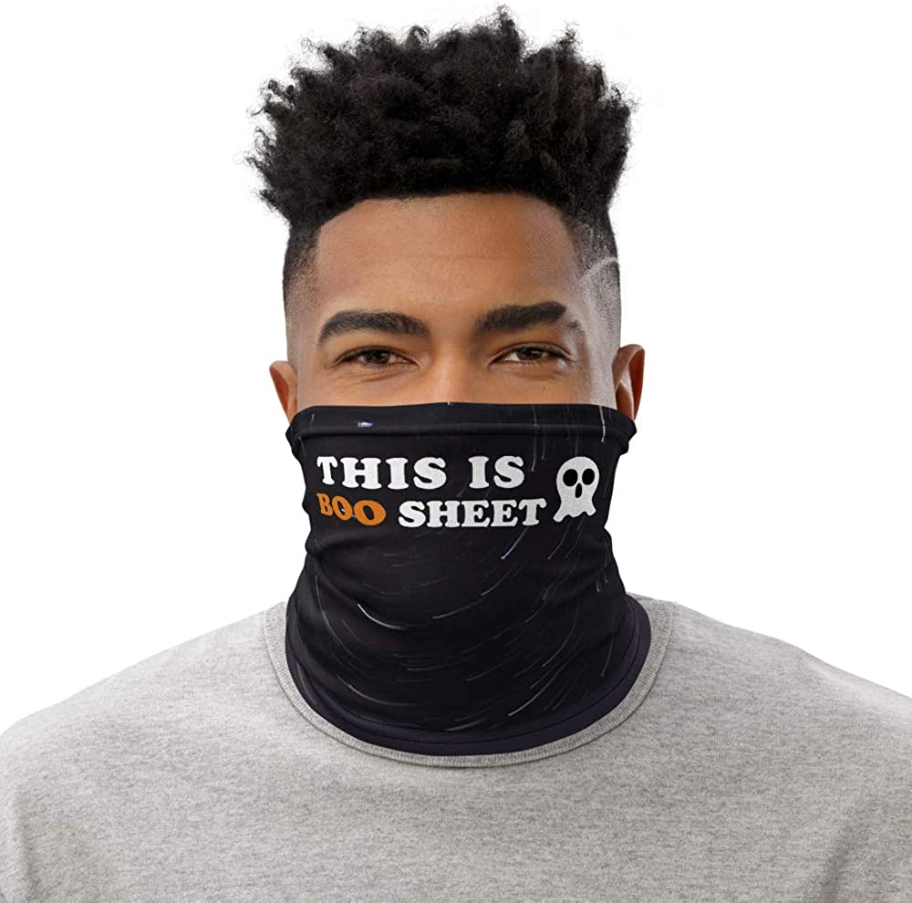 This is Boo Sheet Ghost Halloween Pun Funny Sayings Neck Gaiter