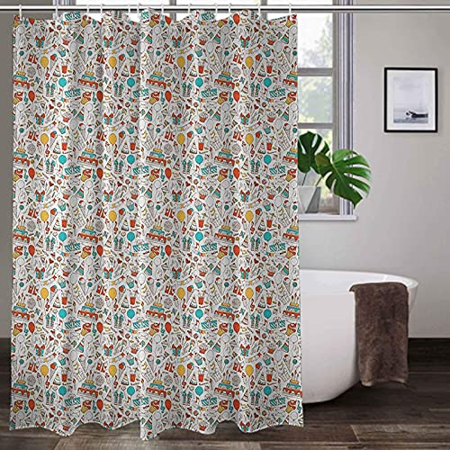 lovedomi Birthday Bathroom Decoration Curtain-Box Garland Music Notes Party Party Cake Candy Pie Party Hat Shower Curtain Waterproof Polyester Fabric Shower Curtain 72x72 Inch Bathroom Accessory Set