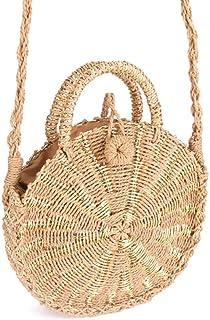GSERA Handgemachte Rattan Gewebte Runde Handtasche Retro Stroh Gestrickte Umhängetasche Lady Handtasche Beach Tote Circle Bag