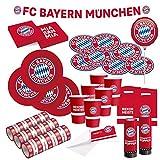 FC Bayern München Party Set · XXL Fußball Party Set 71 teilig Fanartikel · Party Zubehör · Deko zur Fußballparty und Geburtstag