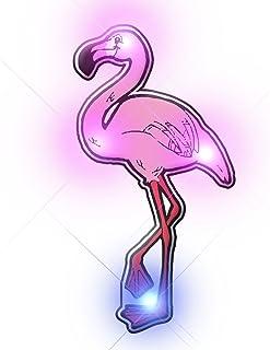 Light Up Pink Flamingo Flashing Blinking LED Body Light Lapel Pins (5-Pack)