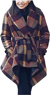 Sunmoot Women's Plaid TrenchCoats Turn Down Shawl Collar Earth Tone Check Wool Blend Coat Overcoat