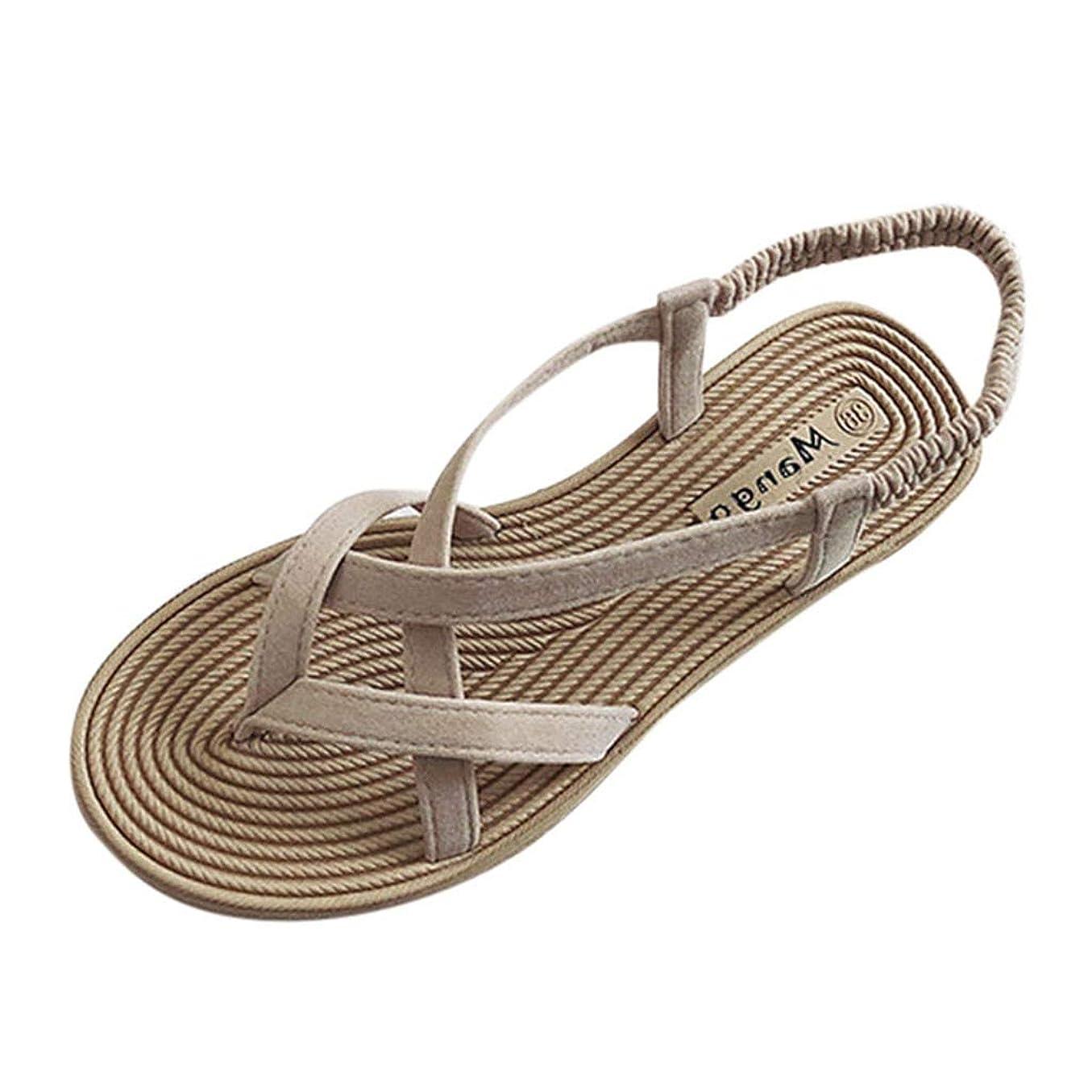ドアミラーまだら喜んでサンダル liqiuxiang レディース 軽い Comfort フラットシューズ レディ オープントゥ デザイン性 アンクルストラップ サマーシューズ 女性 レジャー 通気性 軽量 靴 海 夏