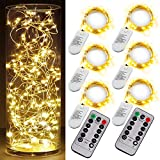 6PCS Fairy String Warm White Changing Twinkle Lights with 2pcs Remote, 6.5ft 20 LEDs Silver Wire,CR2032 Battery Powered,Indoor Decorative Bedroom,Wedding,Patio,Christmas,Outdoor Garden,Stroller