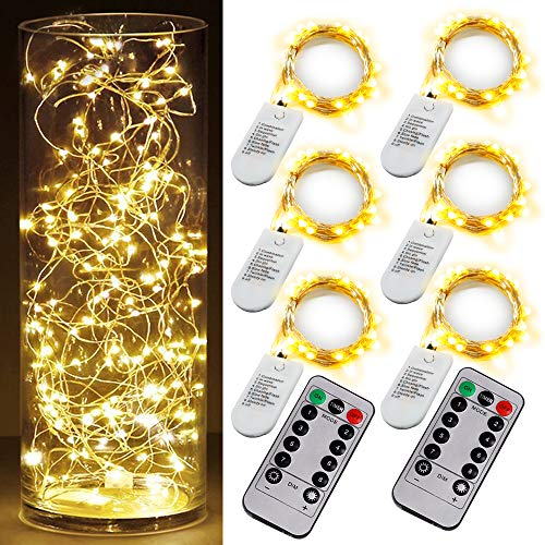 6PCS Fairy String Warm White Changing Twinkle Lights with 2 PCS Remote, 6.5ft 20 LED's,CR2032 Battery Powered, Indoor Decorative Silver Wire Bedroom,Patio,Outdoor Garden,Stroller