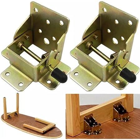 (1 paire)Extension de pied de table pliante autobloquante à 90 degrés, support d'étagère pliable, télescopique, caché, pour bureau, lit, charnières