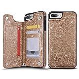 UEEBAI Case for iPhone 7 Plus 8 Plus, Premium Glitter PU Leather...