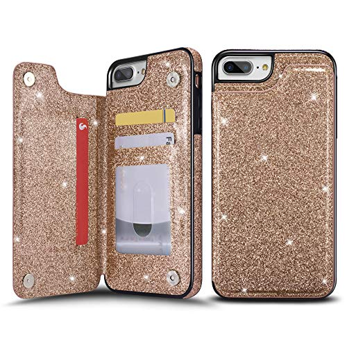 UEEBAI Case for iPhone 7 Plus 8 Plus, Premium Glitter PU Leather Case Back Wallet Cover [Two Magnetic Clasp] [Card Slots] Stand Function Durable Shockproof Soft TPU Case for iPhone 8 Plus -Rose Gold#3