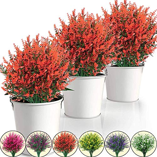 15 Pack Artificial Lavender Flowers Plants Lifelike UV Resistant Fake Shrubs Greenery Bushes Bouquet to Brighten up Your Home Kitchen Garden Indoor Outdoor Decor (red)