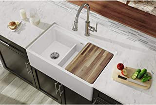 Elkay SWUF3320WH Fireclay 60/40 Double Bowl Farmhouse Sink with Aqua Divide, White
