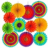 OVEE LANDO 2 Set of 6 Vibrant Bright Colors Hanging Paper Fans Rosettes Party Decoration 8' 12' 16' Various Sizes