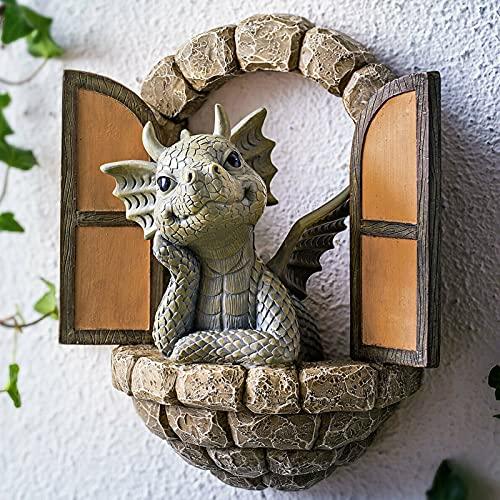 Drachenskulptur Garten Drachen Skulptur Wand Aus Harz, Klein Wetterfest Drachen Figuren Gartenstatuen FüR Garten, Balkon Oder Outdoor Harz Handwerk,12,8 x16 x5,2cm (A)