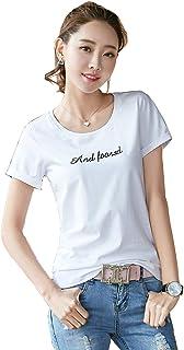 KAWA KANA レディース Tシャツ 半袖 白 コットン 英字 無地 シンプル トップス カットソー 4カラー 夏