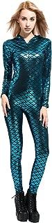 Women's Sexy Metallic Fish Scale Mermaid Bodysuit Shiny Unitard Costumes