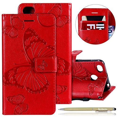 Herbests Kompatibel mit Leder Handy Schutzhülle Xiaomi Redmi 4X Lederhülle Schmetterling Muster Leder Handyhülle Handytasche Brieftasche Ledertasche Bookstyle Flip Hülle Cover Klapphülle,Rot