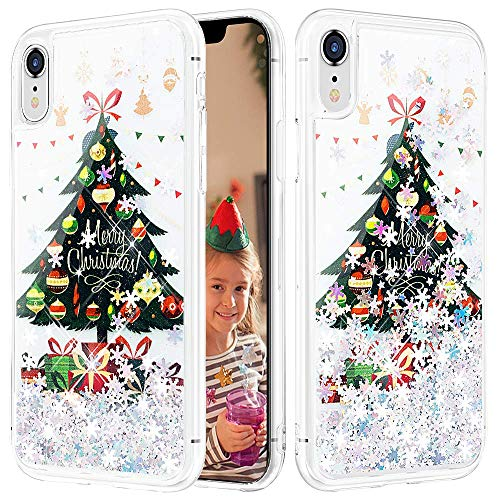 Caka iPhone XR Case, iPhone XR Christmas Glitter Case for Grils Women Sparkle Fashion Bling Luxury Flowing Liquid Floating Glitter Soft TPU Clear Case for iPhone XR (Christmas Tree)