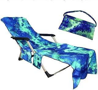 JanTeelGO Cubierta de la Silla de Playa, Pool Sunbathing Lounge Chaise Tapa reclinable Toalla con Bolsillos Laterales, Manta Espesa portátil de Secado rápido y Tumbona para Vacaciones (Azul)
