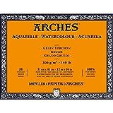 Arches Blocco Per Acquerello Incollato 4 Lati (20 Fogli) - Grana Torchon - 300 G/Mq - 31 X 41 cm